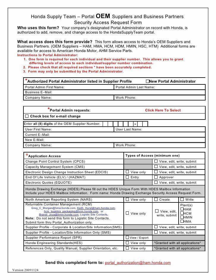 User Access Request Form Template Beautiful Hondasupplyteam Oem