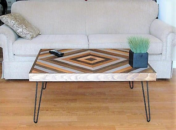 Wood Chevron Coffee Table, Rustic Coffee Table, Wooden Coffee Table, Hairpin Leg Table, Reclaimed Wood Table, Salvaged Coffee Table