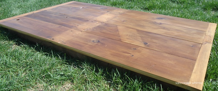 custom reclaimed barn wood table top from Salvaged Whimsy (the buyer already had legs)