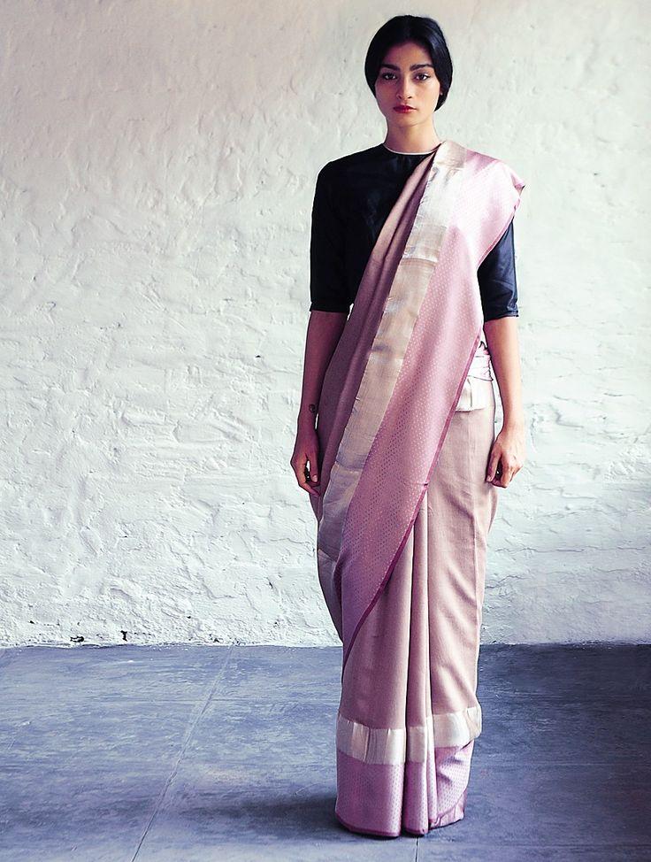 Buy Light Bronze Pink Jeenat Cotton Silk Saree By Raw Mango Sarees Woven Mashroo A Collection of Online at Jaypore.com