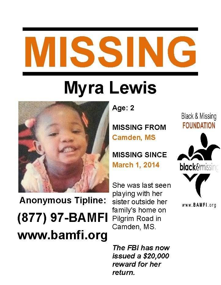 3/1/2014: Myra Lewis, age 2, is #missing from Camden, Mississippi.