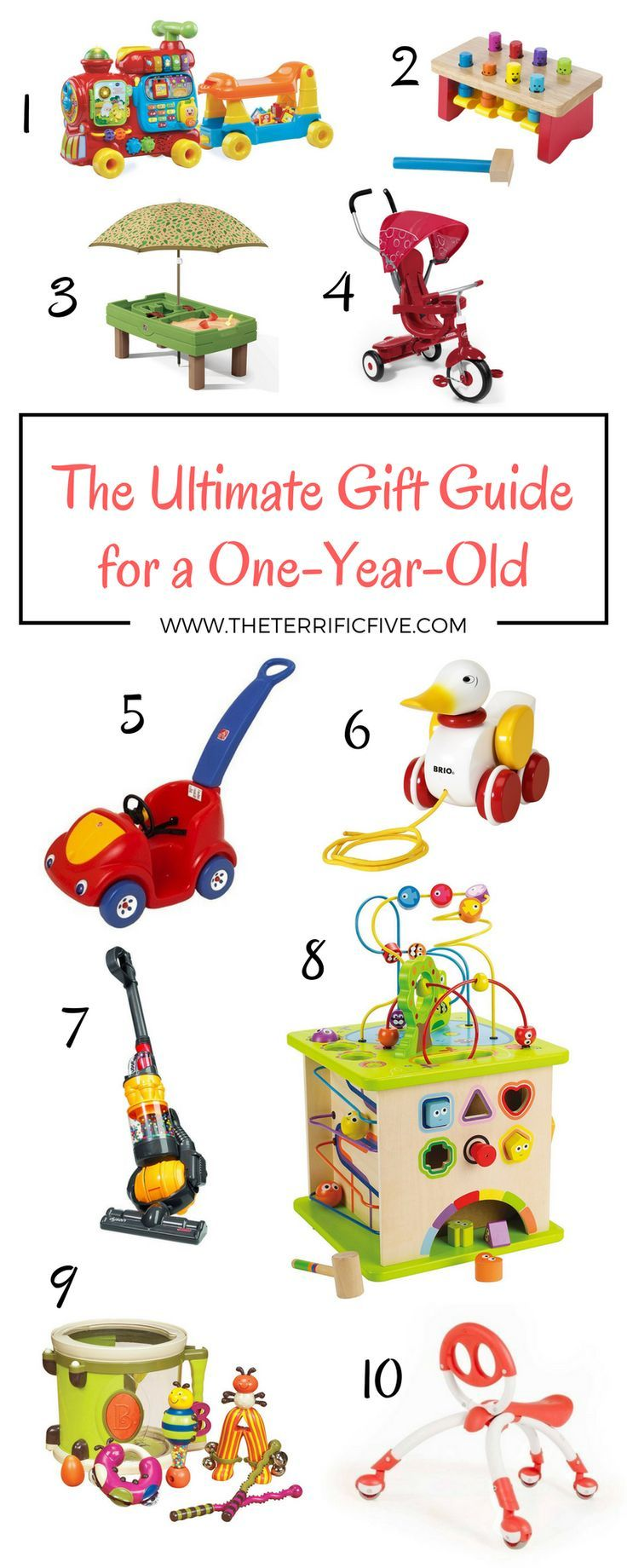 The Ultimate Gift Guide for a One-Year-Old: Tired of buying toys that your kids barely touch? Not sure what toys to bring to a baby's birthday party? Here are the top toys for one-year-old babies, tried and true by my own two kids! www.theterrificfive.com