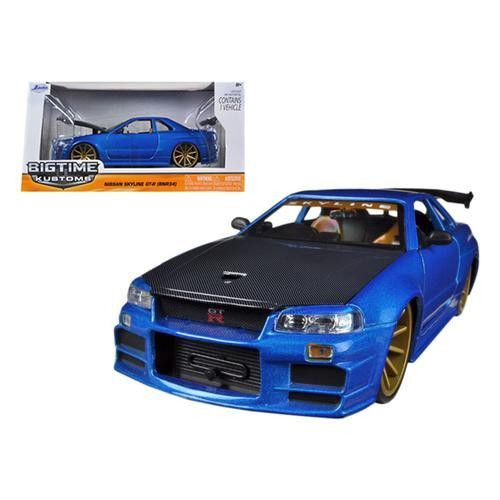 Nissan Skyline GT-R BNR34 Blue 1/24 Diecast Car Model by Jada