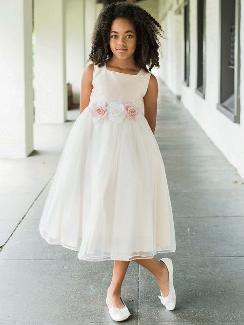 Cute Silk Top With Soft Tulle Skirt Flower Girl Dress