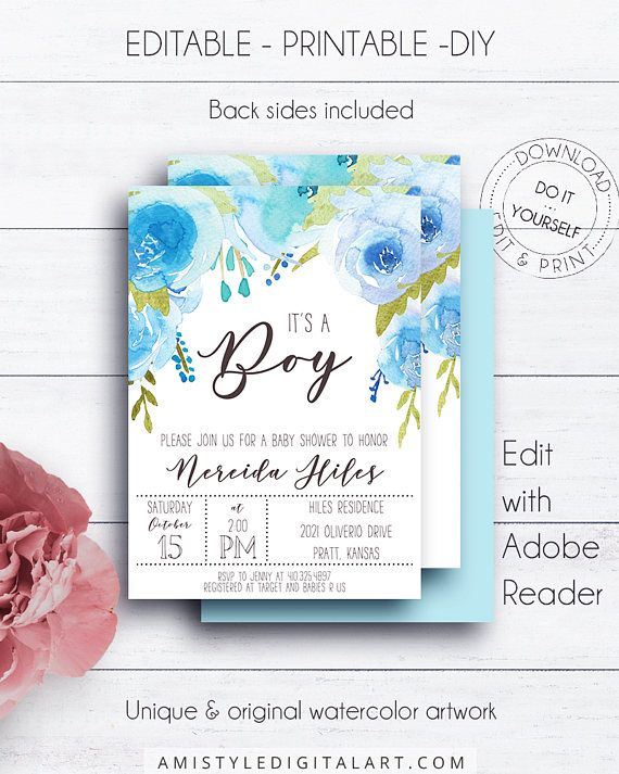 Whimsical Blue Baby Shower, with glamorous watercolor roses - perfect for the lover of the whimsical styleThis printable baby shower invitation listing is for an instant download EDITABLE PDF so you can download it right away, DIY edit and print it at home or at your local copy shop by Amistyle Digital Art on Etsy
