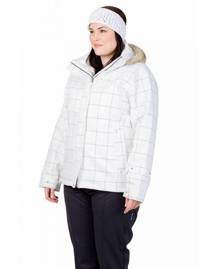 Cartel Soho Womens Plus Size Ski Jacket White Plaid
