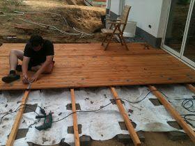So baut man eine Holzterrasse selbst. Das kann jeder selber bauen. Als Holz für die Terrasse haben wir Douglasie verwendet.