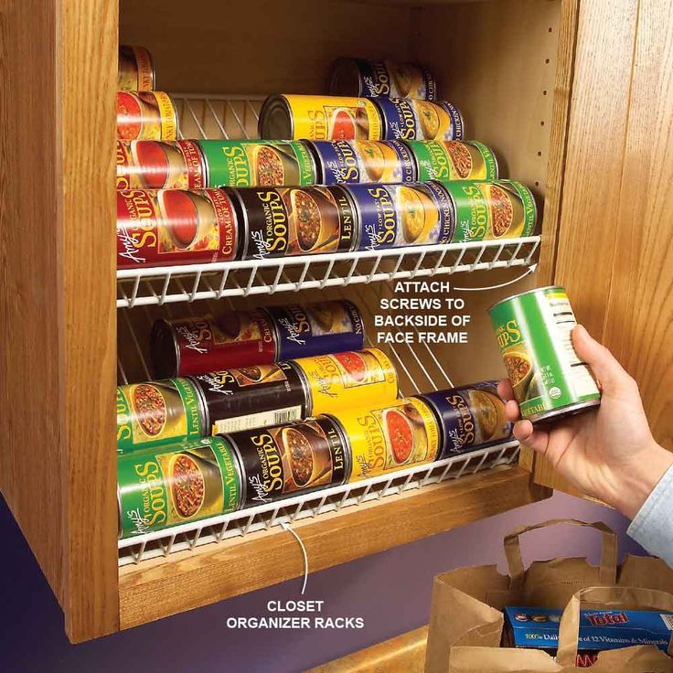 Racks for Canned Goods - Use those leftover closet racks as cabinet organizers. Trim the racks to length with a hacksaw and then mount screws to the backside of the face frame to hold the racks in place. The backside of the rack simply rests against the back of the cabinet. Now you can easily find your soup and check the rest of your inventory at a glance.