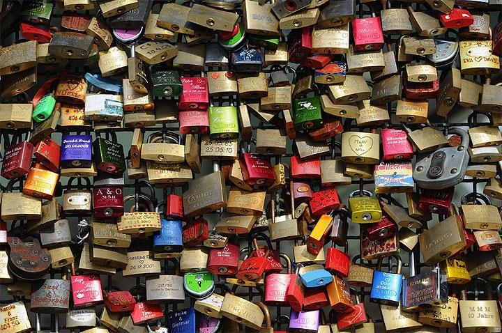 Love locks in Cologne Germany