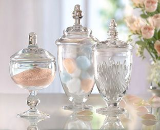 47 best images about apothecary jar decor on pinterest for Bathroom apothecary jar ideas