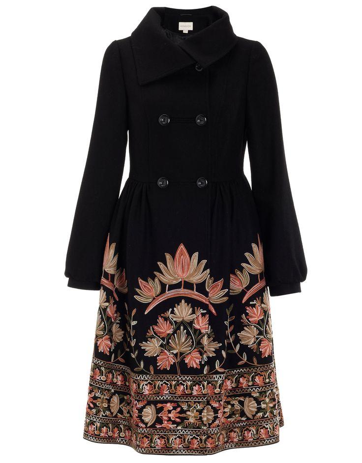 Jaipur Embroidered Skirt Coat | Black | Monsoon