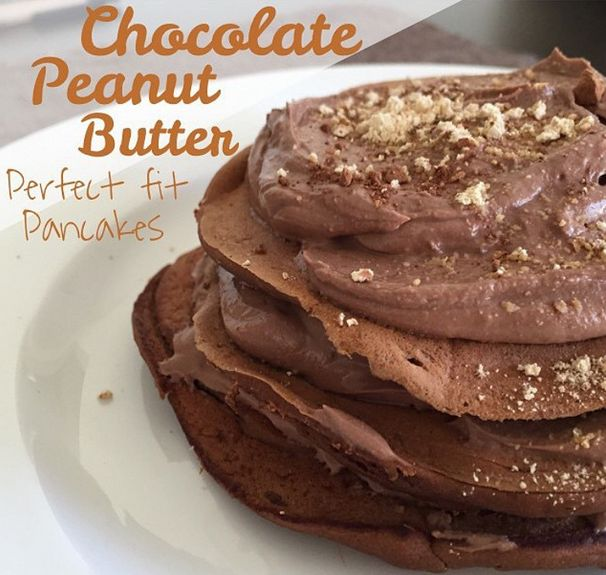 Chocolate Peanut Butter Perfect Fit Pancakes! Shared by sharayahclementz. 1 scoop chocolate Perfect Fit Protein, 1/2 mashed banana, 1/4 cup egg whites, 2 tbsp cocoa powder, 1 tbsp PB2, dash of almond milk, truvia to taste. Chocolate PB mousse ~1/2 cup plain Greek yogurt, 2 tbsp cocoa powder, 1 tbsp PB2, truvia to taste. Cook pancakes over medium low heat. Add mousse in between layers!