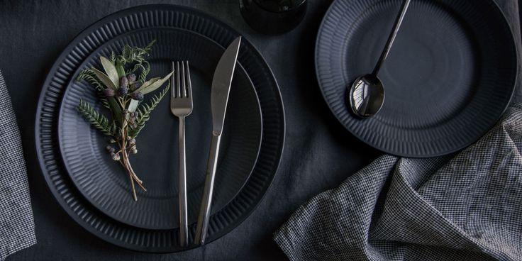Danish Black Fluted Porcelain Dinnerware - TRNK