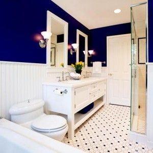 Bathroom Ideas With Dark Blue And Dotted Tiles