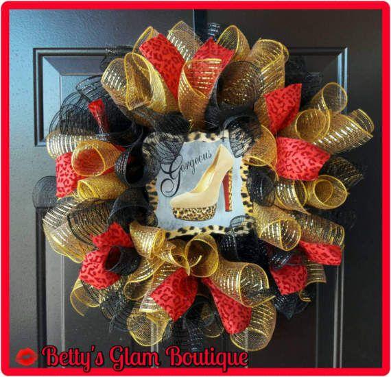 High Heel Shoe 20in Deco Mesh Wreath, Every Occasion Wreath, Red Wreath, Red and Black Wreath, High Heel Decor, Shoe Decor, Cheetah  Decor