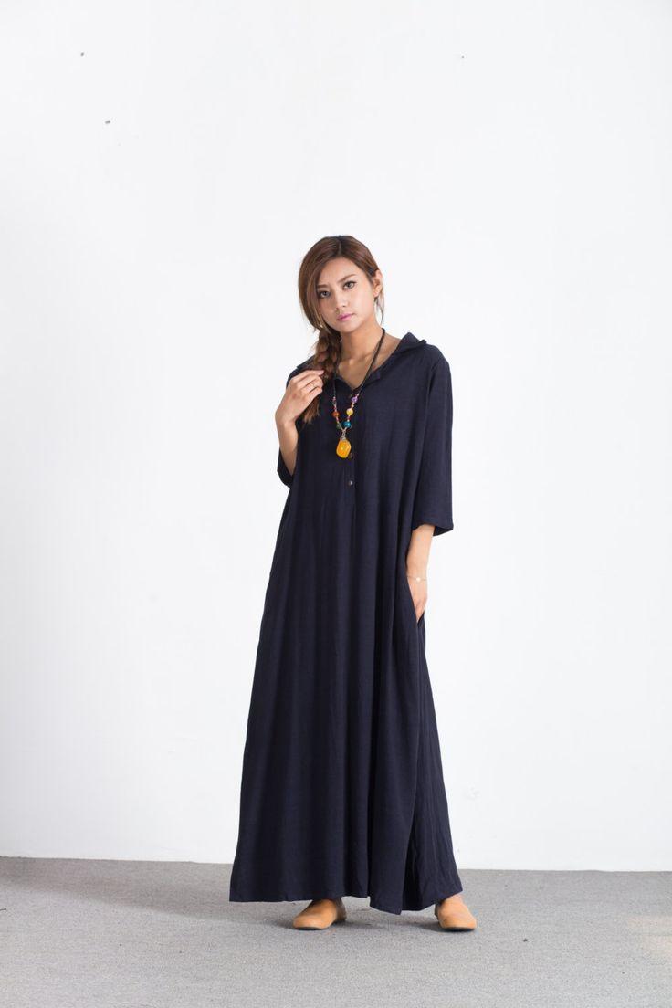 Gran tamaño de las mujeres maxi vestido suelto de lino de