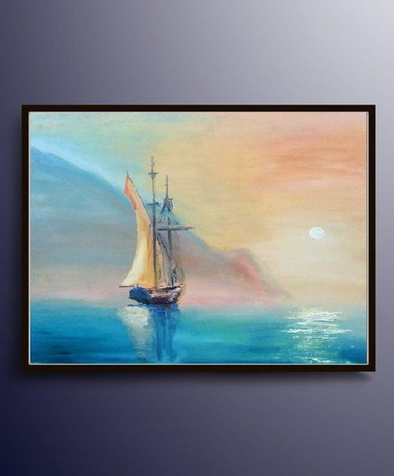 Landscape Home Decor HD Canvas Prints Painting Wall Art Sailboat Sea Beach Boat