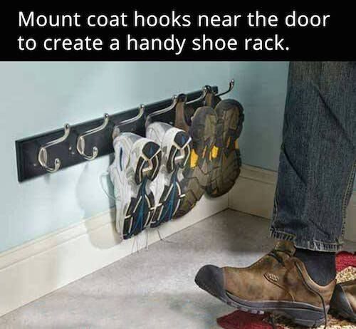 Wall mount coat racks for entryway shoe storage