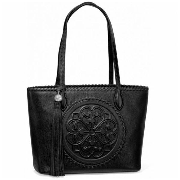 Brighton Black Emilia Medium Medallion Tote ($410) ❤ liked on Polyvore featuring bags, handbags, tote bags, black, tote handbags, tassel handbag, rose purse, brighton handbags and brighton purses