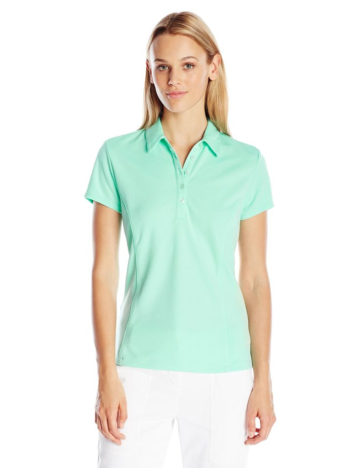 PGA TOUR Women's Golf Performance Airflux Polo Shirt, Ice Green, S. 100 percent polyester. Air flux: innovated ventilation for ultimate comfort. Drifter: moisture absorption and control for cooler, drier comfort. Easy care: machine washable, maintains its smoothness. Sun flux: protects your skin from the sun's harmful rays. Motion flux: innovative seams define range of motion.