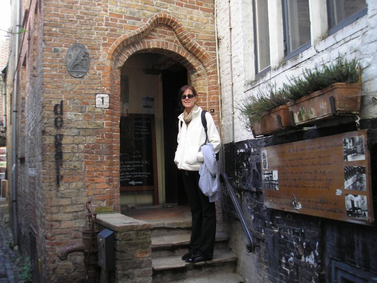 """About to enter Staminee De Garre in Bruges... down a small alleyway is the entrance to this quaint brew pub!  This  pub is a """"must visit""""  when in Bruges."""