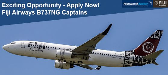 Great commuting contract with Fiji Airways for B737NG Captains – Apply now! http://ow.ly/V7QiV #RishworthAV #aviation #jobs