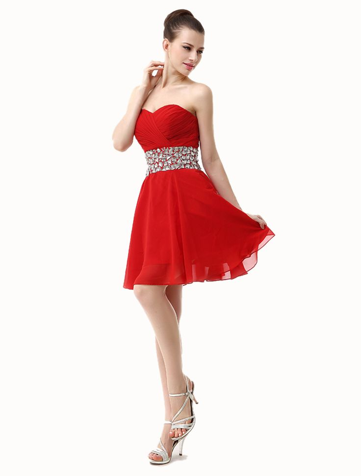 A-line Sweetheart Sleeveless Knee-length Red Chiffon Prom Dress IS0144
