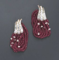 A PAIR OF RUBY AND DIAMOND EAR HOOPS, BY HARRY WINSTON