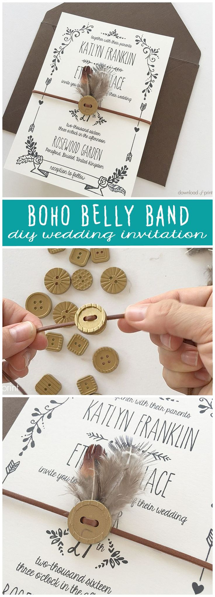 Easy boho belly band made from a button and feather. Complete your boho wedding invitations with this adorable embellishment, for the hippy at heart :)