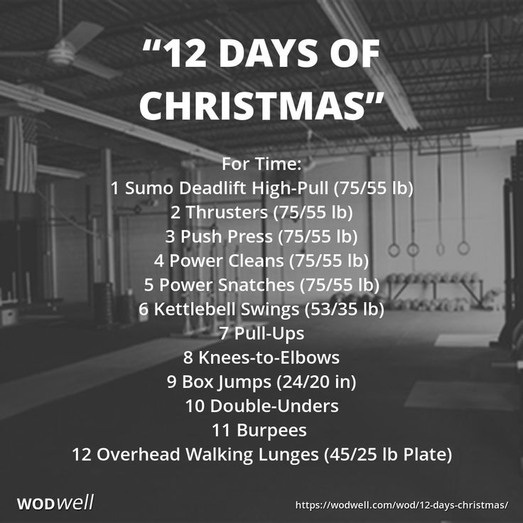 """Like the song the """"12 Days of Christmas,"""" complete each exercise in ascending order then work back down to 1, adding one exercise per round. Like this: 1; 2-1; 3-2-1; 4-3-2-1; etc – for a total of 364 reps. -- There are many variations of this """"12 Days of Christmas"""" Holiday WOD (aka: """"12 Days of CrossFit""""). As always the movements and weights may be changed to suit the athlete."""