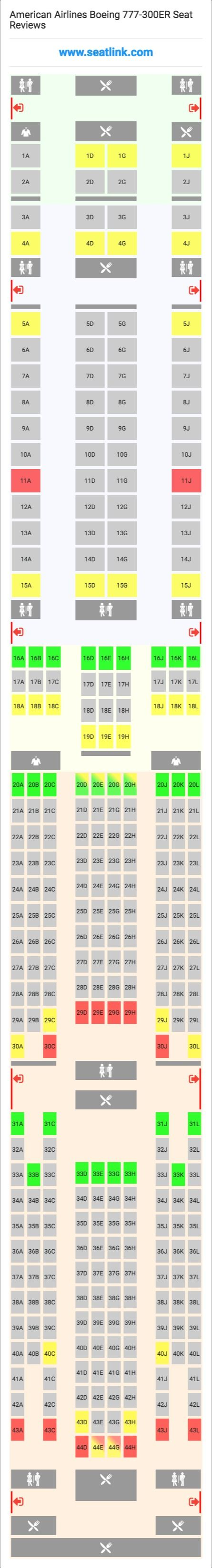 American Airlines Boeing 777-300ER (77W) Seat Map