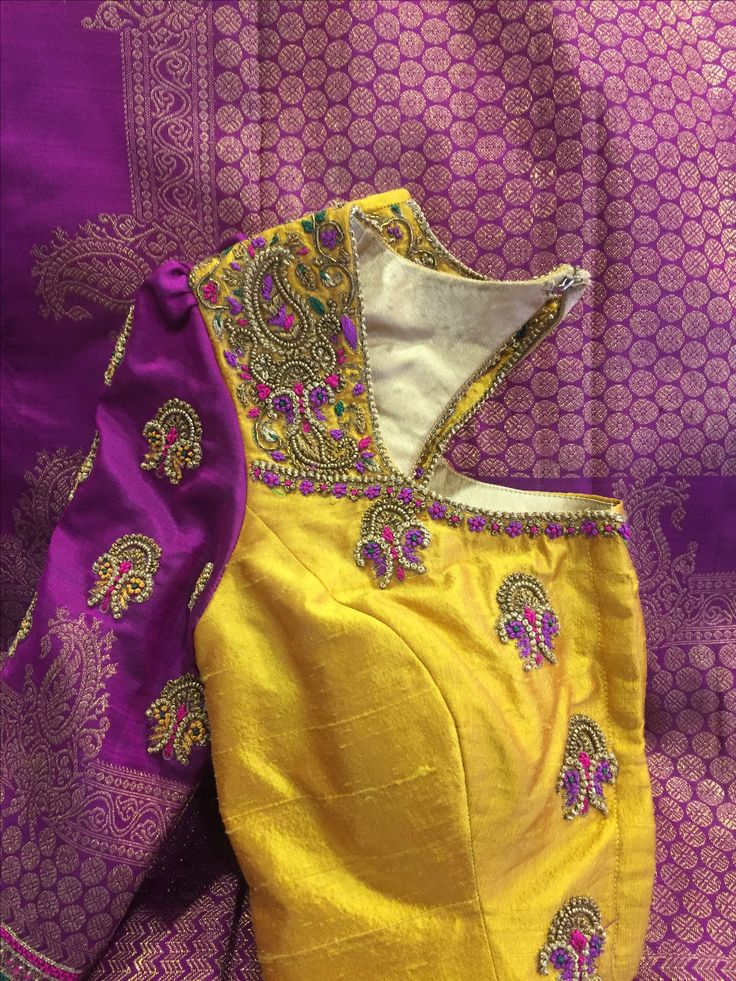 Purple saree with mustard blouse