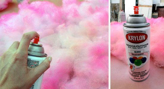 cotton candy - spray paint pillow stuffing.