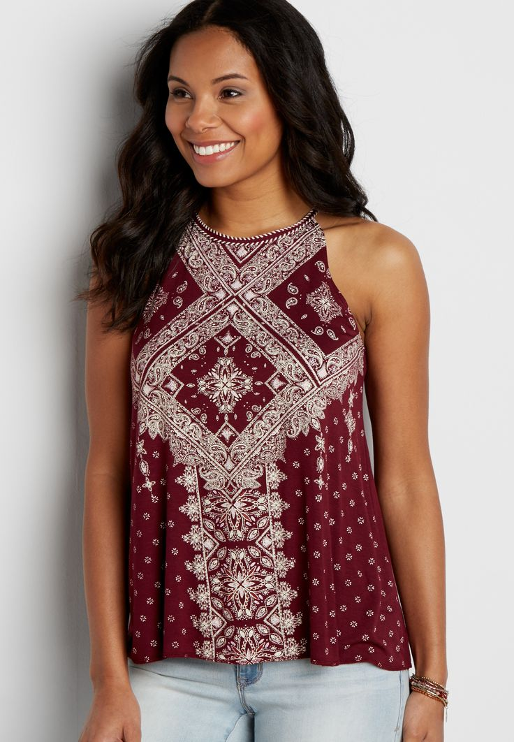 bandana patterned tank with high whip stitched neckline (original price, $26.00) available at #Maurices