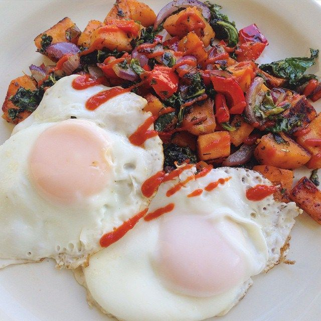 Paleo sweet potato hash with basted eggs #paleo #primal #sweetpotato #recipe