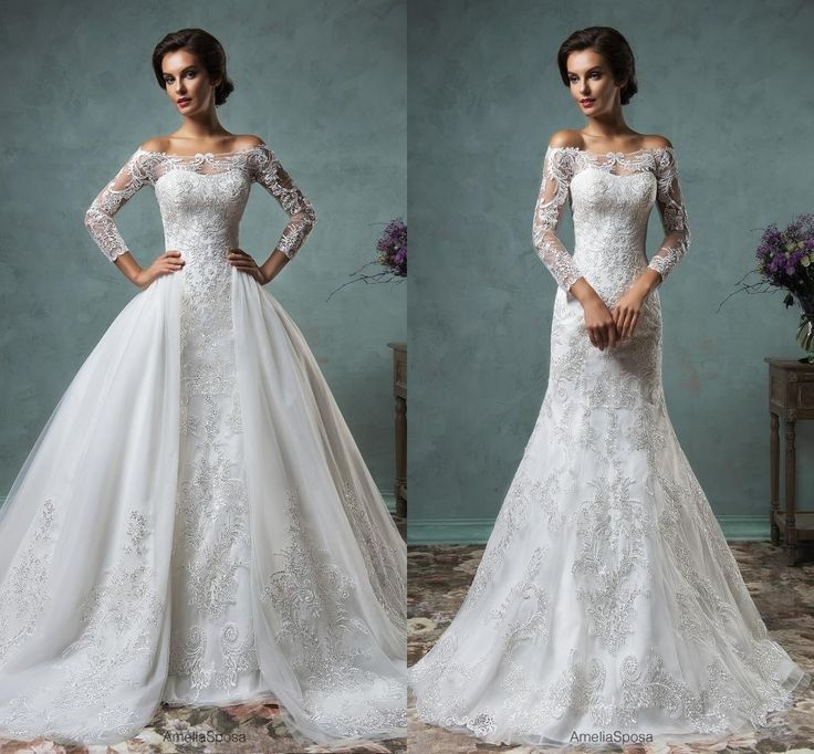 Pretty Dresses Amelia Sposa 2016 Sexy Muslim Wedding Dresses With Removable Skirt Off Shoulder Appliqued Organza Ball Gown Bridal Gowns With Long Sleeves Exotic Wedding Dresses From Nicedressonline, $267.02| Dhgate.Com