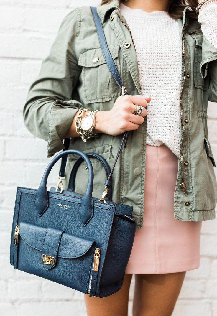 Spring style inspiration via Glitter & Gingham // Ft. Pink Leather Skirt, Leopard Sandals, Utility Jacket, Henri Bendel Tote