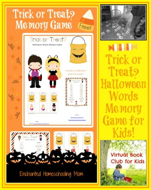 Trick or Treat Halloween Words Memory Game for Kids based on Trick or Treat by Bill Martin Jr