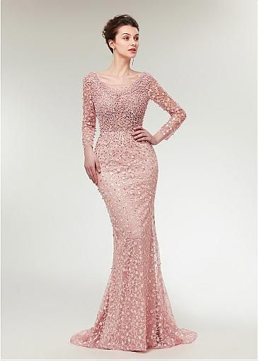 6e741c1cbfb Stunning Lace Scoop Neckline Long Sleeves Mermaid Evening Dress With  Beadings