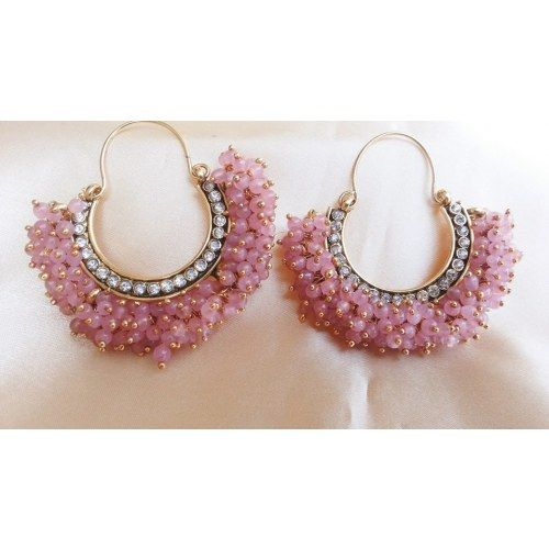 Pink Pearl Chand Bali Hoops