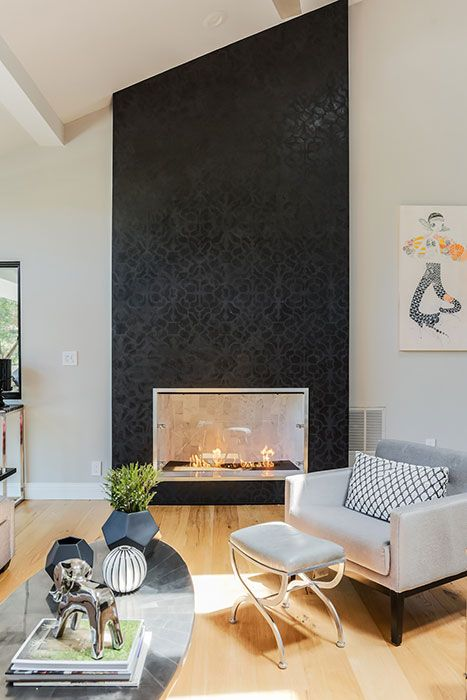 Stenciled Modern Masters Venetian Plaster On Fireplace Photography By Catherine Nguyen