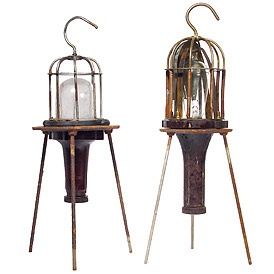 tripod caged table lamps