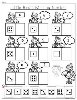(sample page) Winter Wonderland {Composing and Decomposing Numbers} Kindergarten Math Common Core. 5 activity pages included. $