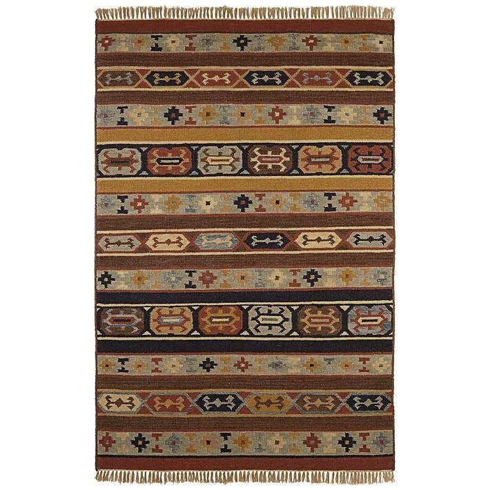 Southwestern Stripes Woolen Dhurry Rug - #2N755 | Lamps Plus