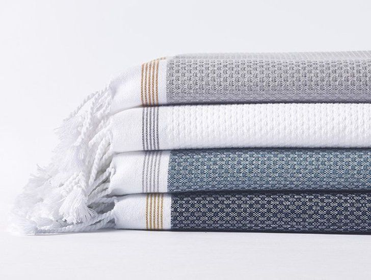 Pin for Later: 25 Home Essentials For People Who Love Being Pampered Coyuchi Mediterranean Organic Bath Towels Coyuchi Mediterranean Bath Towel Indigo With Mustard ($48)