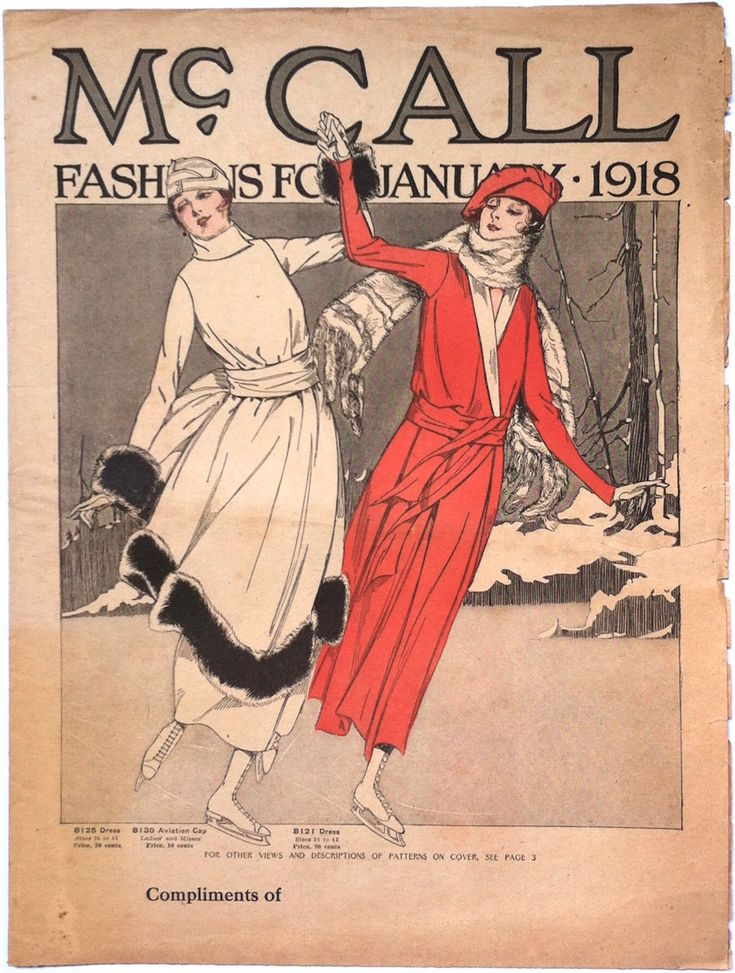 Illustration of two women skating on the cover of a McCall Pattern Company news leaflet, winter 1918 (McCall 8125, 8130, and 8121)