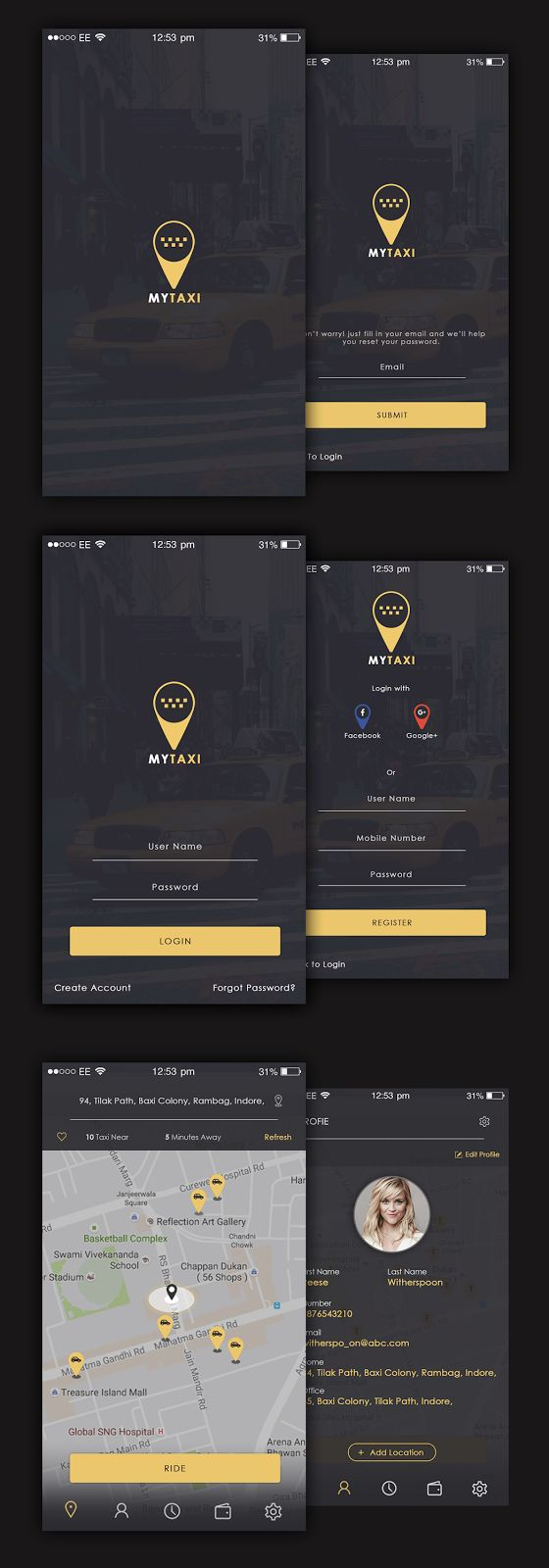 creative designs idea free taxi app ui - Ui Design Ideas