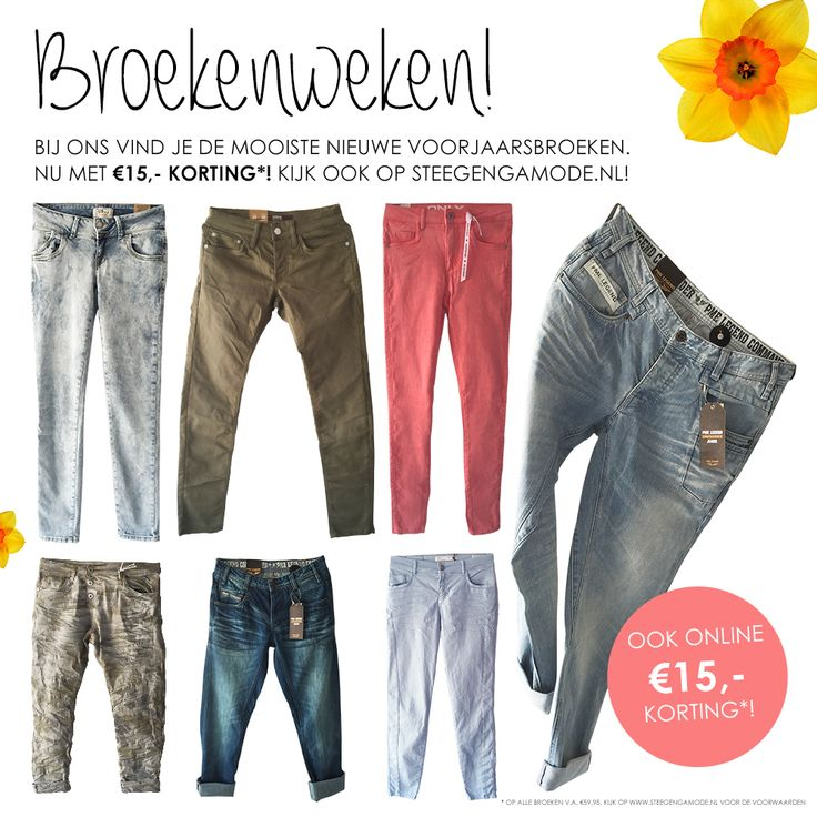 €15,- korting op alle broeken v.a. €59,95! Kijk op www.steegengamode.nl/dames/broeken?p=1 #fashion #women #inspiration #mode #jeans #broeken