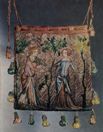 Decoration Medieval bags were often heavily embroidered front and back with scenes of courtly love. The image shows Game With A Hood on a 1340 aumoniere from Paris. The embroidery shows a fashionably dressed young couple in a garden. It is embroidered with couched gold and silver threads and split stitched for the remainder on linen.