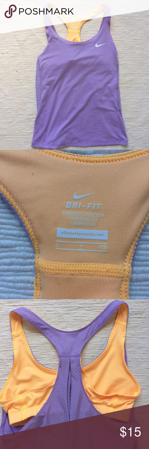 Nike dry fit workout tank Lavender Nike loose tank attached to orange sports bra. Tank is nice and flowy for a bit of a peek a boo look in the back. Made of Dry Fit fabric. Nike Tops Tank Tops